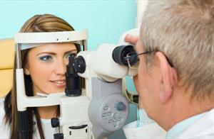 Woman at an eye exam